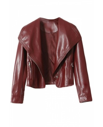 Womens Pretty Turndown Collar Zipper Short Jacket Ruby
