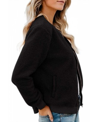 Dual Pocket Fluffy Jacket With Zipper Black
