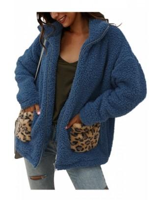 Leopard Pocket Teddy Jacket With Zipper Blue
