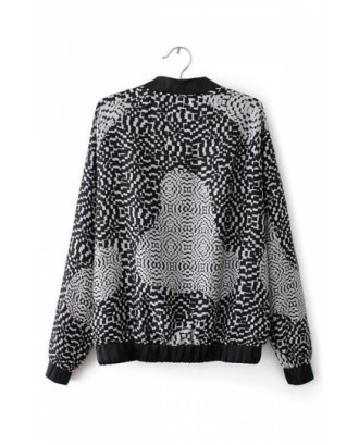 Gray Fabulous Ladies Long Sleeve Geometric Pattern Print Jacket