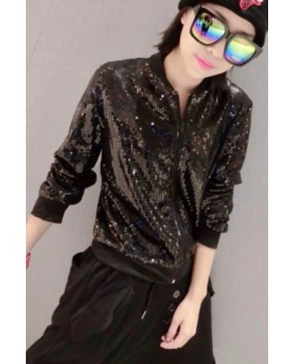 Black Vintage Sequins Eye Pattern Womens Long Sleeves Jacket