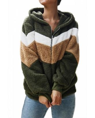 Hooded Color Block Teddy Jacket Zipper Front Olive