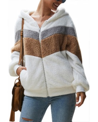 Hooded Fuzzy Jacket With Zipper White