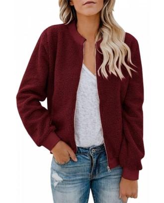 Plain Fuzzy Jacket With Pocket Ruby