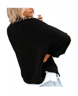 Zip Up Womens Bomber Jacket Black