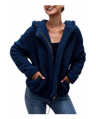 Solid Sherpa Jacket For Women Sapphire Blue