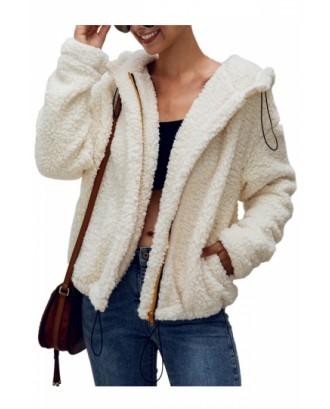 Pocket Faux Shearling Jacket Beige White