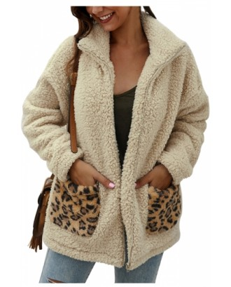 Solid Zip Up Teddy Jacket Faux Fur Apricot