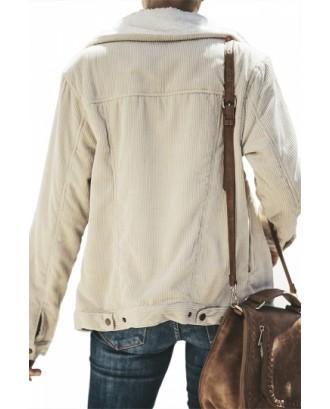 Faux Shearling Jacket With Zipper Khaki