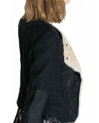 Black Elegant Womens Patchwork Crew Neck Long Sleeve Jacket
