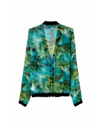 Green Stunning Ladies Long Sleeves Palm Trees Print V Neck Jacket