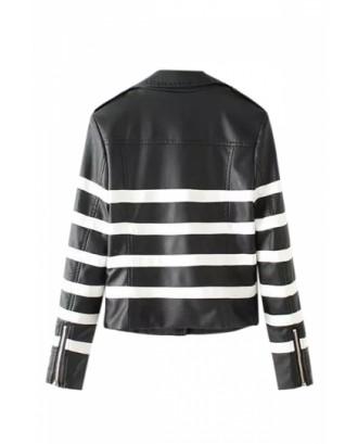 Womens Stylish Notch Lapel Striped Zipper Short Jacket Black