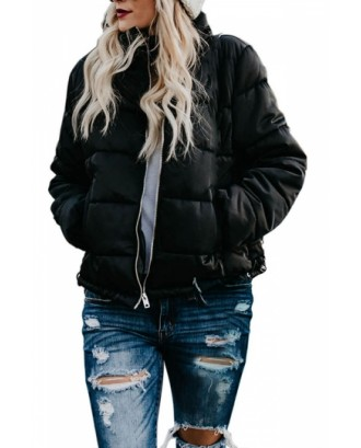 Solid Womens Puffer Jacket With Pocket Black