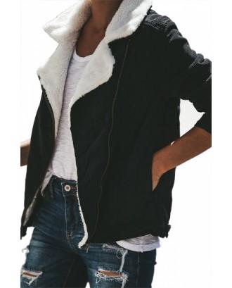 Lapel Fuzzy Jacket Black