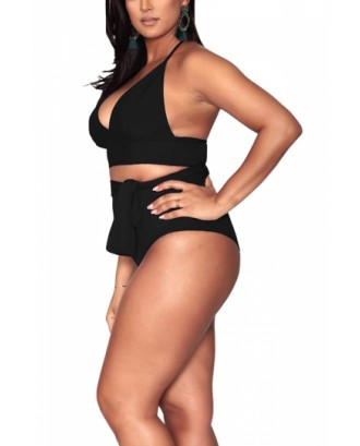 Plus Size Halter High Waisted Tummy Control Bikini Set Black