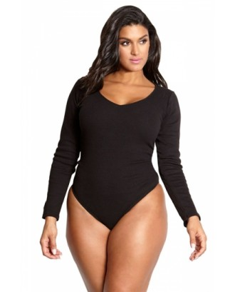 Plus Size Crew Neck Long Sleeve Plain High Cut One Piece Swimsuit Black
