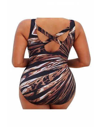 Plus Size Backless Criss Cross Print One Piece Swimsuit Coffee