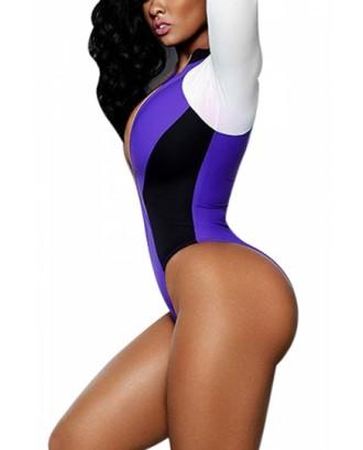 Long Sleeve Color Block Zipper High Cut One Piece Swimsuit Purple