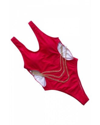 High Cut Cut Out Plain Chain One Piece Swimsuit Red