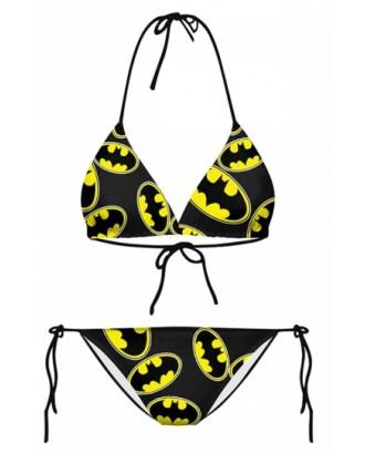 Womens Sexy Batman Printed Top&Side-Tie Bottom Bikini Set Yellow