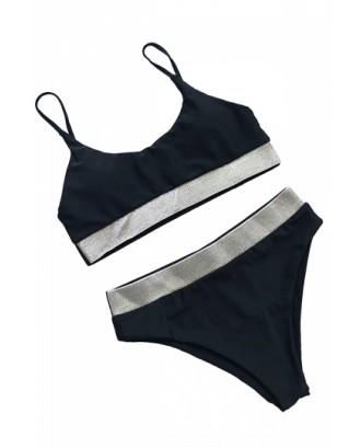 Spaghetti Straps Sequin Patchwork High Waisted Bikini Black