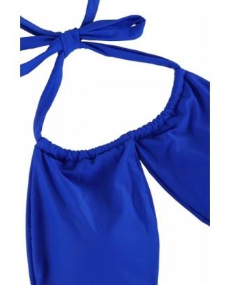 Womens Sexy Lace Up Bandage Bikini Top&High Cut Bottom Sapphire Blue