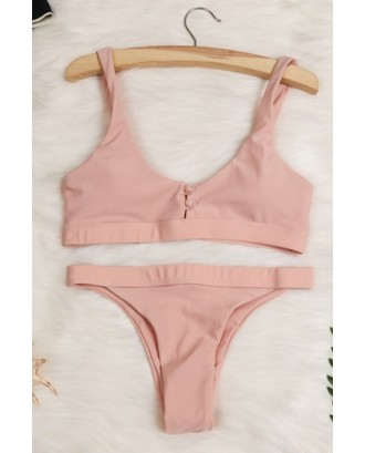 Scoop Neck Button Down Plain High Cut Bikini Set Pink