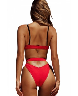 Sexy Buckle Triangle Top Cut Out Plain High Cut Bikini Set Red