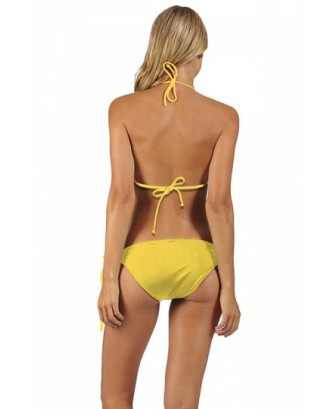 Womens Minions Printed Top & Side-Tie Bottom Bikini Set Yellow