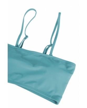 Sexy Bandeau High Waisted Bikini Bottoms Set Two Piece Swimsuits Blue