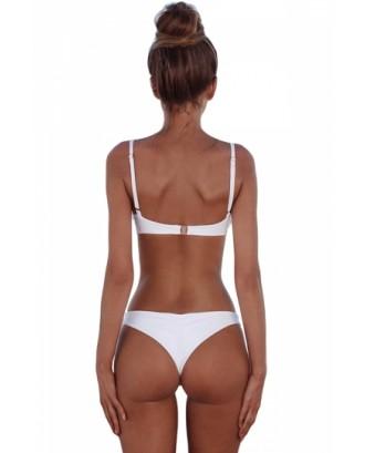 Sexy Spaghetti Straps Plain High Cut Two Pieces Bikini White