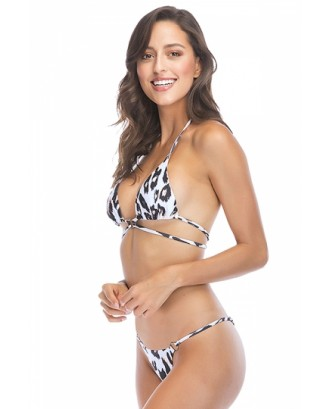 Sexy Halter Triangle Top Leopard Print String Bikini Brown