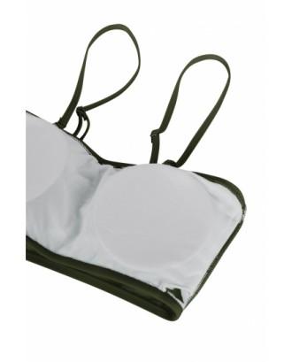 Womens Sexy Plain Bandeau Top&High Waist Bottom Bikini Set Army Green