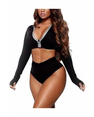 Long Sleeve Zipper Front High Waisted Plain Two-Piece Swimsuit Black