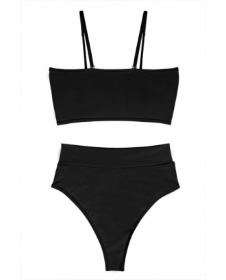 Sexy Bandeau High Waisted Bikini Bottoms Set Two Piece Swimsuits Black
