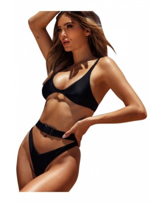 Sexy Buckle Triangle Top Cut Out Plain High Cut Bikini Set Black