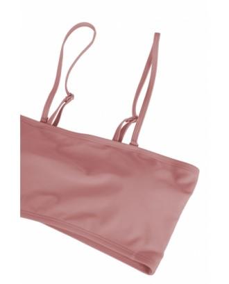 Sexy Bandeau High Waisted Bikini Bottoms Set Two Piece Swimsuits Pink