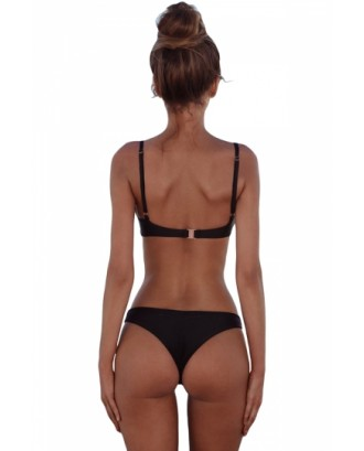 Sexy Spaghetti Straps Plain High Cut Two Pieces Bikini Black