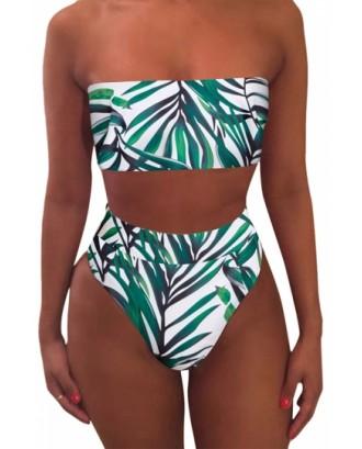Leaf Print Bandeau Top High Waisted Bikini Set Turquoise
