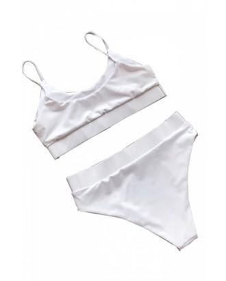 Spaghetti Straps Sequin Patchwork High Waisted Bikini White