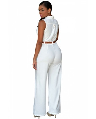 Elegant Sleeveless Belted Wide Leg White Jumpsuits For Women