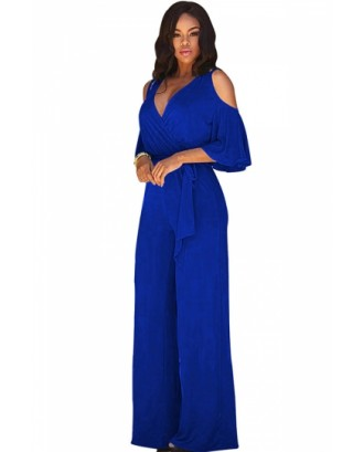 Cold Shoulder V-Neck Draping Bandage Sapphire Blue Jumpsuits For Women