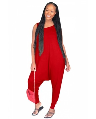 Crew Neck Sleeveless Loose Plain Harem Jumpsuit Red