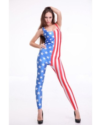 Blue American Flag Printed Sleeveless Women Bodysuit Jumpsuit