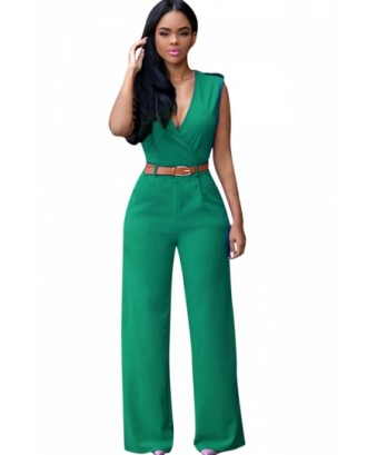 Green Wrap V Neck Sleeveless High Waist Wide Leg Jumpsuits For Women