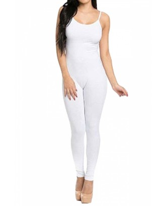 Bodycon Spaghetti Straps White Jumpsuits For Women