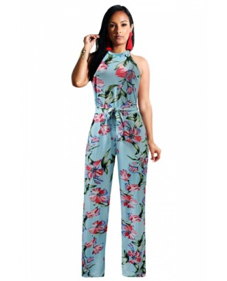 Crew Neck Sleeveless Floral Print Tie Waist Stripe Jumpsuit Light Blue