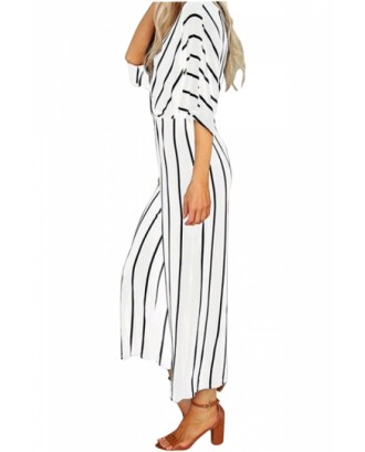 Fashion V Neck Half Sleeve Loose Striped Wide Leg Jumpsuit White