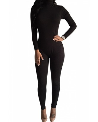Black Long Sleeve Turtleneck Catsuit Bodycon Jumpsuits For Women