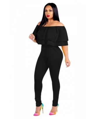 Fashion Off Shoulder Ruffle Plain Bodycon Jumpsuit Black